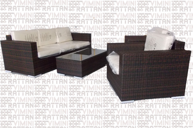 SALOTTO 5 POSTI IN RATTAN SINTETICO MARRONE TIGER . -